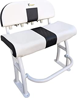 Leaning Post for Center Console Boats- Deluxe backrest, recessed Foot Rest and Rod Holders for Fishing- White- Pro Series