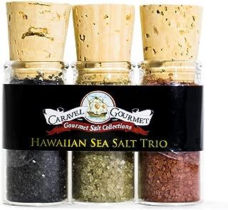 The Aloha Sea Salt Mini Trio Sampler Set - Black Lava, Red Alaea, Bamboo Jade - Reusable Glass Vials - Gluten-Free, No MSG - 2.4 total oz.