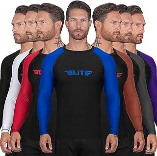 Elite Sports BJJ Jiu Jitsu Rash Guard Men's BJJ No GI MMA Ranked Full Sleeve Compression Rash Guards
