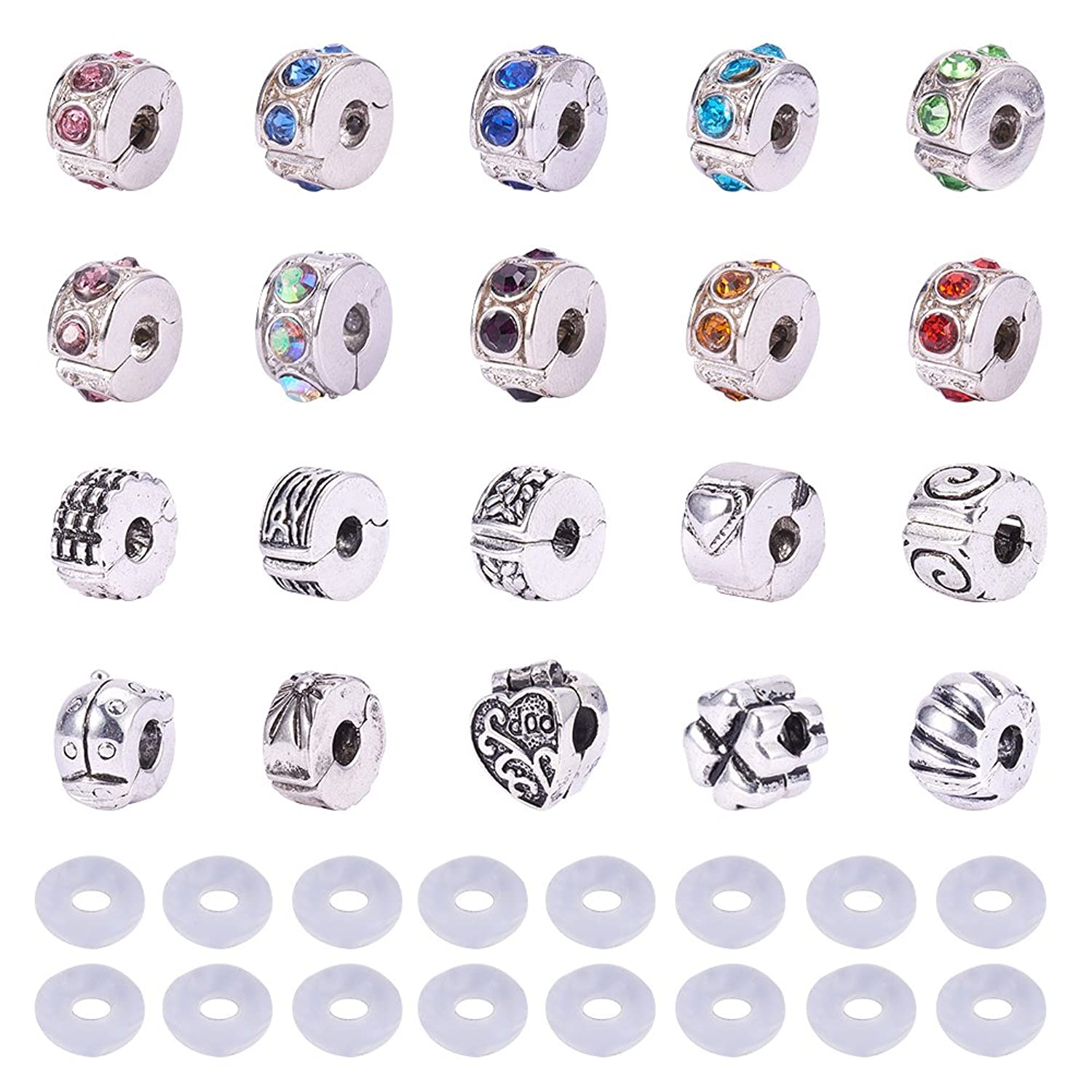 PandaHall Elite 20 Pcs Clip Lock Bead Charms with 20 Pcs Silicon Rubber Stopper O-rings Fit European Style Bracelet for Jewelry Making lbovjp4290464