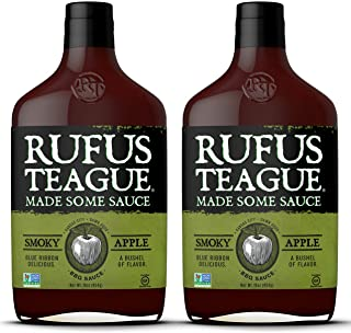 Rufus Teague- Smoky Apple BBQ Sauce 2 Bottles of Sweet Rich Flavor. Take Your Barbecue to the Grill Master - BBQ Guru Level with our Award Winning All Natural Apple Mash Barbecue Sauce. (2 Bottles)