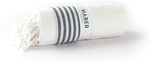 Haber Light Weight 100% Cotton Bath Towel with Unique Micro Waffle Texture for Active Feel, Quick Absorption and Faster Drying Towel, Pack of 1- Myriad Collection (Pearl)