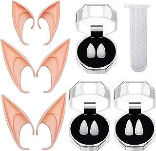 EIRMEON Vampire Fangs Teeth Elf Ears - 3 Pairs Vampire Teeth with Adhesive + 3 Pairs Cosplay Fairy Pixie Elf Ears for Cosp...