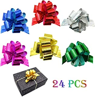 """24PCS Gift Pull Bows- 4"""" Wide,6 Colors Gift Wrapping Christmas Wedding Valentine's Day Present Decoration Pull Bows"""