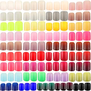 888 Pieces Colorful Short False Nails Square Artificial Fake Nail Full Cover Coffin Press on Nails Colorful 37 Sets Full C...