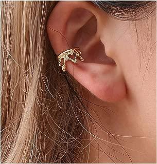 KISSFRIDAY Golden Crown Punk Rock Metal Ear Bone Clip Ear Hook Cuff Clip Jewelry No Ear Hole
