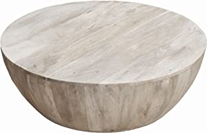 The Urban Port UPT-32181 Modern Wooden Coffee Table in Round Shape, Light Brown,