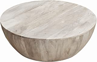 The Urban Port Distressed Mango Wood Coffee Table in Round Shape, Light Brown