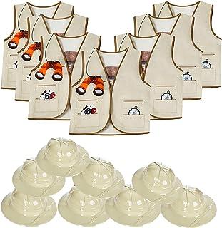 Tigerdoe Pith Helmets for Kids - 8 Safari Hats & 8 Vests - Jungle Party Supplies - Safari Party Favors - Dress Up for Kids