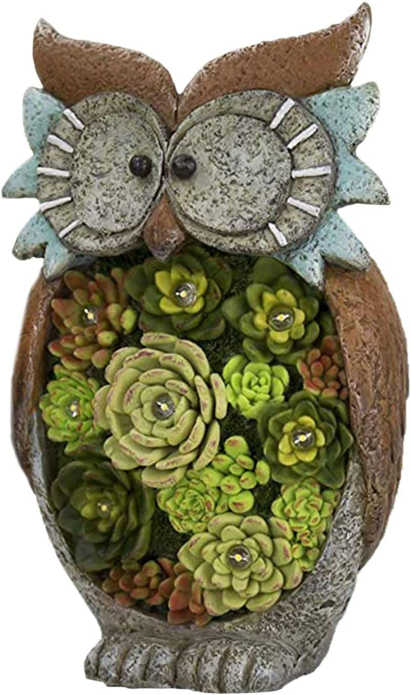 Cheng-store Garden Shipping included Statue Owl Super sale Figurine Light Outdoor R Solar