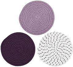 DS. DISTINCTIVE STYLE Cotton Thread Weave Hot Pads Kitchen Potholders Set 3 Pieces 7 Inch Non-Slip Trivet Mats for Cooking...