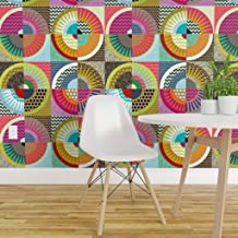 Spoonflower Pre-Pasted Removable Wallpaper, Cheater Pink Green Blue Red Circles Squares Geometric Starburst Chevron Flowers Print, Water-Activated Wallpaper, 24in x 144in Roll