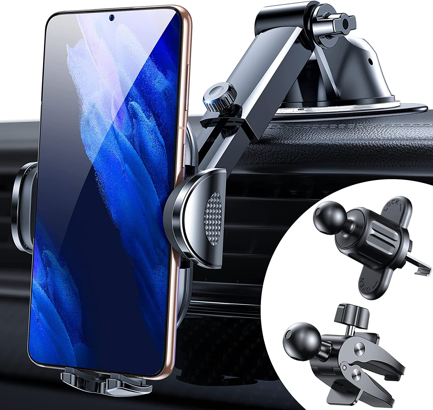 Anwas Car Phone Holder Mount [Ultra Sturdy, Bumpy Roads Friendly], Cell Phone Long Arm Holder for Windshield Dash Air Vent, Universal Mount Compatible with All iPhones Samsungs & Thick Case