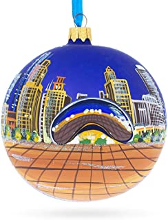 BestPysanky Chicago Bean Glass Ball Christmas Ornament 4 Inches