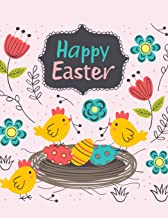 Happy Easter: Cute Easter Eggs and Chicks Sketchbook Book for Kids, Young Artists Large Notebook