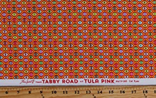 Cotton Cats Eyes on Orange Tula Pink Tabby Road Cat Eyes in Strawberry Fields Cotton Fabric Print by The Yard (PWTP-095-STRAW)