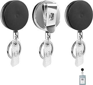 Porte-clés Rétractable 3 Pièces Extensible Titulaire de Carte d'identité Durable Clip de Bobine Insigne Clé Retracteur Cei...