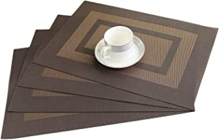 WANGCHAO Placemats Set of 6, 12'x18 Cross Weave Durable Woven Vinyl NOL-Slip Insulation Placemat Washable Table Mats (Brown)