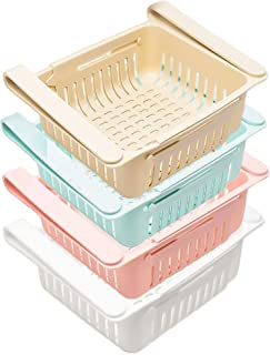 MEEQIAO 4PCS Boite Rangement Frigo, Frigo Rétractable Boîte de Rangement pour Casse-croûte, Légumes, Fruits, Classificatio...