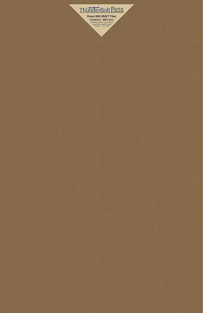 25 Brown Bag Colored Cardstock Paper Sheets - 11 X 17 inches Tabloid|Ledger|Booklet Size – 80 lb/Pound Cover|Card Weight 216 GSM - Natural Kraft Fiber with Darker Specks - Slightly Rough Finish