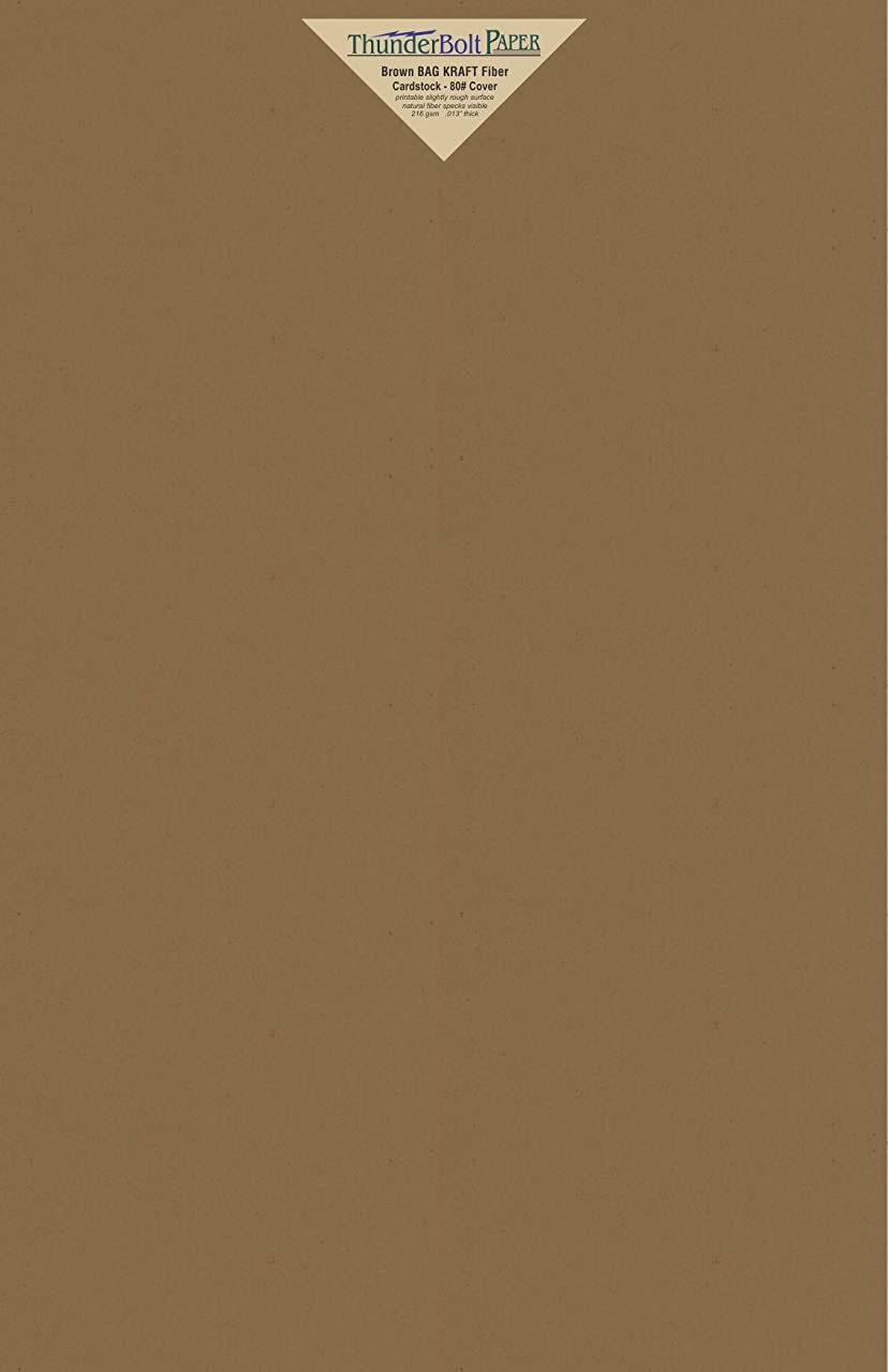 50 Brown Bag Colored Cardstock Paper Sheets - 11 X 17 inches Tabloid Ledger Booklet Size – 80 lb/Pound Cover Card Weight 216 GSM - Natural Kraft Fiber with Darker Specks - Slightly Rough Finish