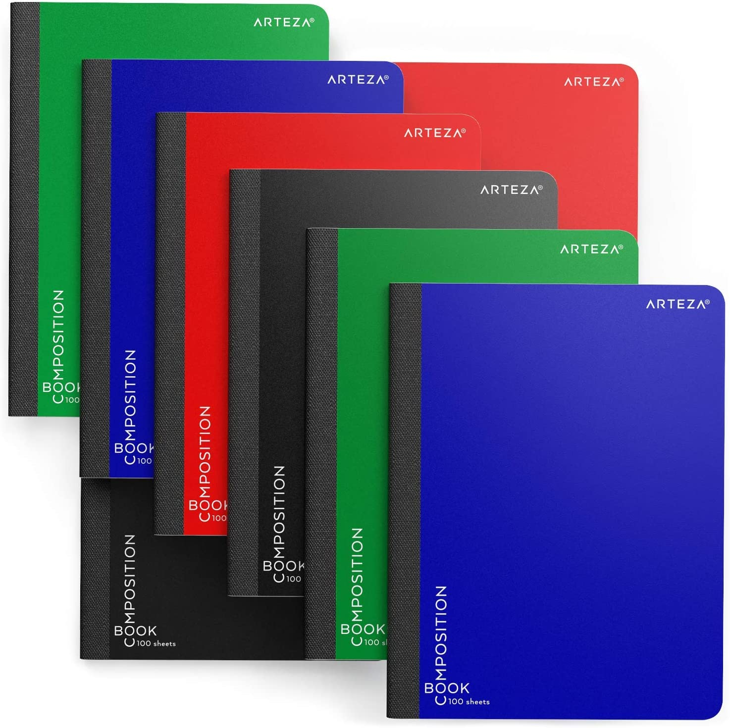 Arteza Composition Books, Wide Ruled, 100 Sheets, Pack of 8 in 4 Colors, 9.75x7.5-inch, Double Sided for Students, College Classes, Schoolwork, Studying, and Notes