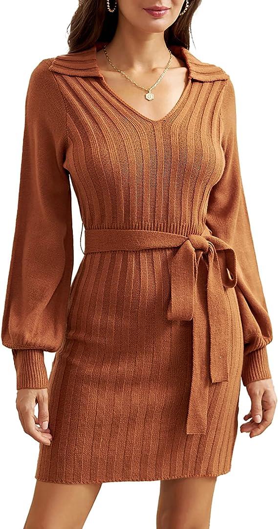 70s Dresses – Disco Dress, Hippie Dress, Wrap Dress GRACE KARIN Womens Long Sleeve Sweater Dresses Casual V Neck Slim Fit Bodycon Pullover Dress with Belt  AT vintagedancer.com