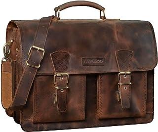 """STILORD Jeffrey"""" Lehrertasche Aktentasche Leder Große Vintage Ledertasche zum Umhängen 15.6 Zoll Laptop Tasche für Schule Uni Business Trolley Aufsteckbar, Farbe:Sepia - braun"""