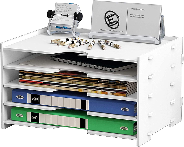 執着即席重さ卓上収納ラック 4段 ファイルラック 書類ホルダー 書類トレー メッシュメタル 組み立て式 仕切り板