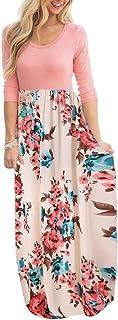 DUNEA Women's Maxi Dress Floral Printed Autumn 3/4 Sleeve...
