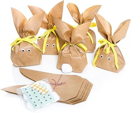 10 Set Osternest Osterhase Tüte Verpackung Ostern HASENTÜTEN Osterhäschen braun gelb Kinder give-away Kundenverpackung Ostergeschenk Osterverpackung Mitgebsel Geschenk Kunden