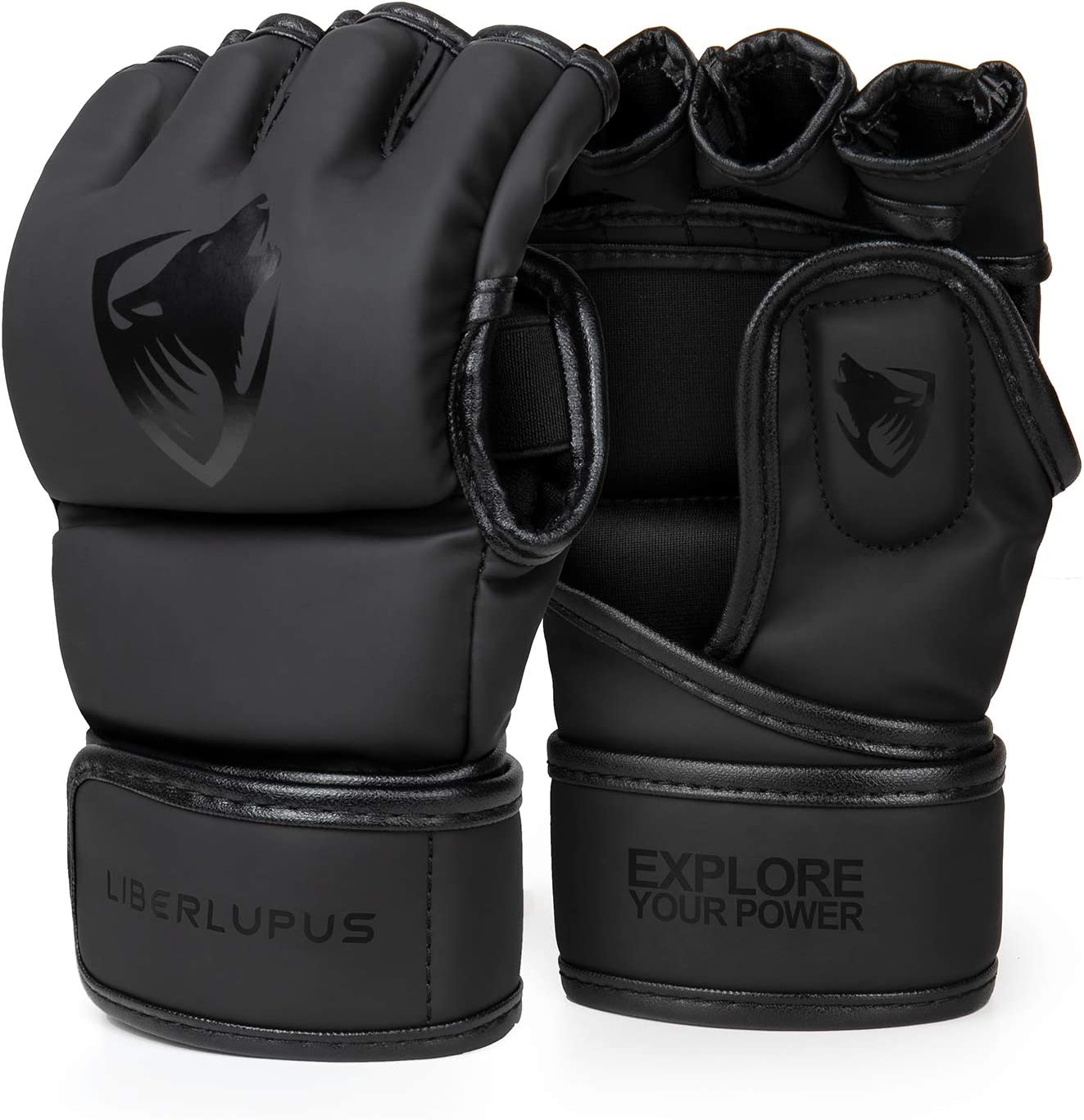 Liberlupus MMA Gloves for Men & Women, Kickboxing Gloves with Open Palms, Boxing Gloves for Punching Bag, Sparring, Muay Thai, MMA : Sports & Outdoors