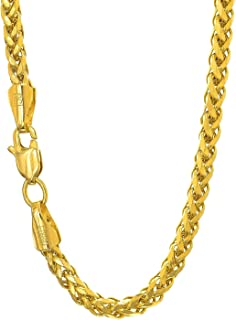 "14K Yellow Gold 4.1mm Shiny Diamond-Cut Classic Semi-Solid Franco Chain Necklace for Pendants and Charms with Lobster-Claw Clasp (8"", 20"", 22"" or 24 inch)"