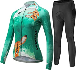 Women's Cycling Long Sleeve Breathable Jersey Set 3D Padded Long Pants Bike Shirt Bicycle Tights Clothing Green