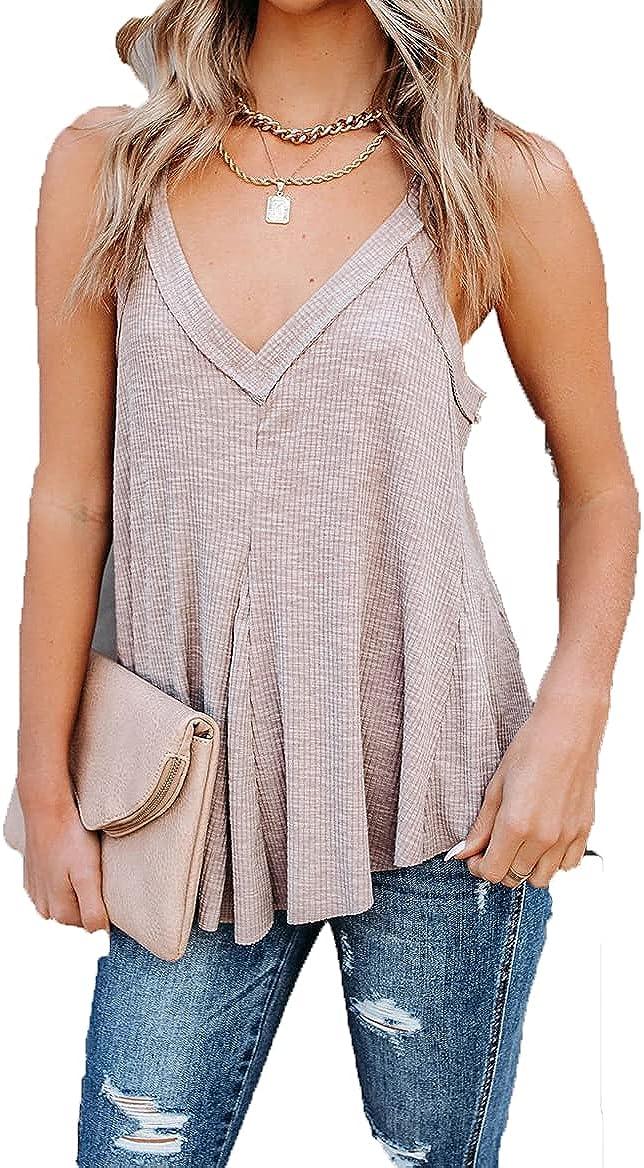 domirica Women's Solid Color Casual V-Neck Vest Irregular Multi-Hem Sleeveless Top