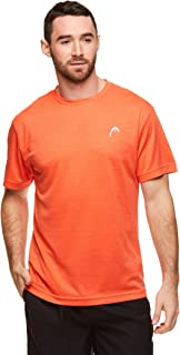 HEAD Men's Hypertek Crewneck Gym Tennis & Workout T-Shirt - Short Sleeve Activewear Top - Speed Mandarin Red Heather, Small