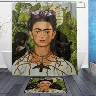 DJROW Frida Kahlo Self-Portrait with Thorn Necklace and Hummingbird Shower Curtain and Bath Mat Set,Includes 60