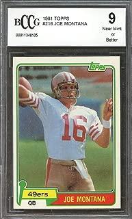 1981 topps #216 JOE MONTANA san francisco 49ers rookie (CENTERED) BGS BCCG 9 Graded Card