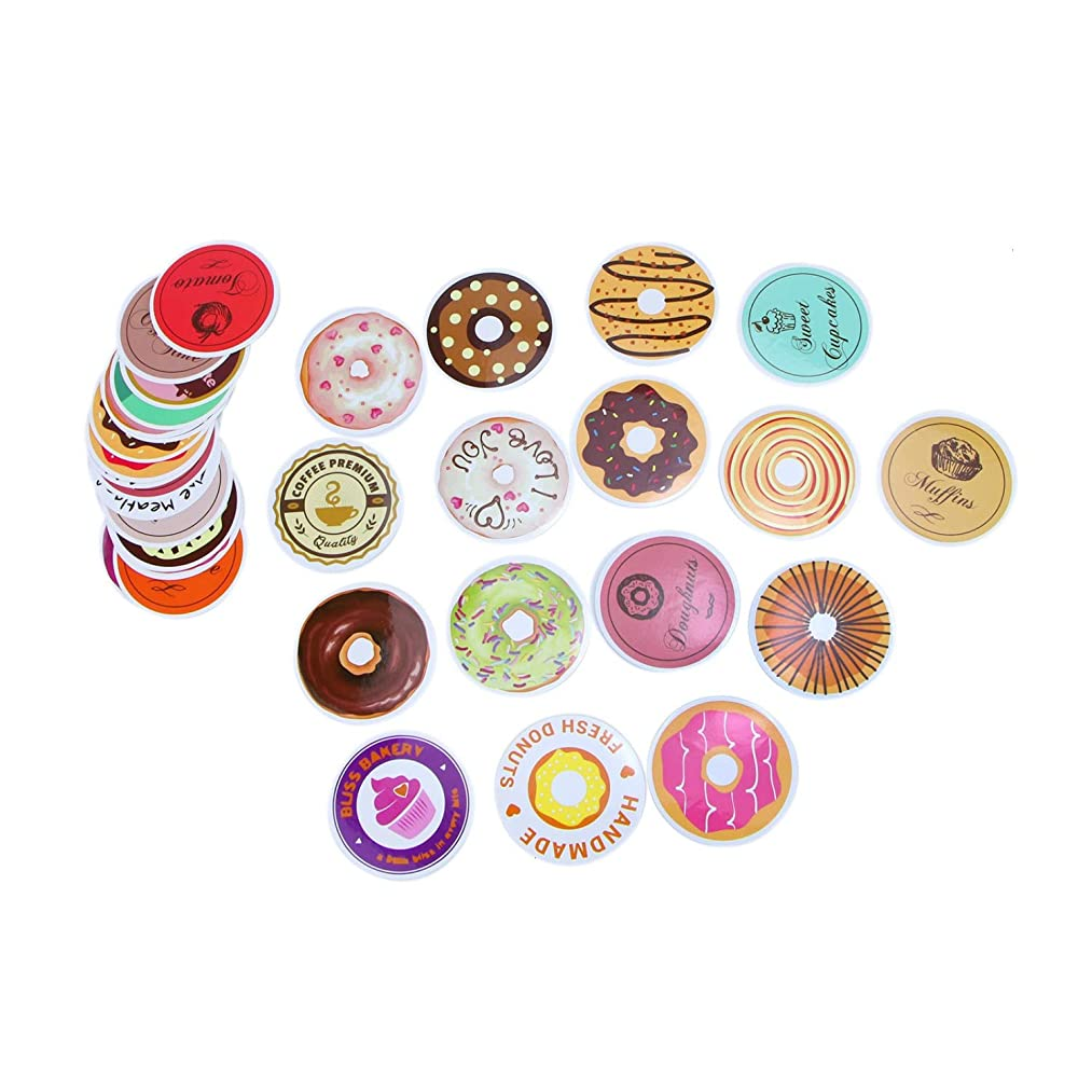Monrocco 70 PCS Donut Stickers Adhesive Sticker Food Stickers for Scrapbook Laptop Computers Water Bottles Suitcases Decoractive Sticker