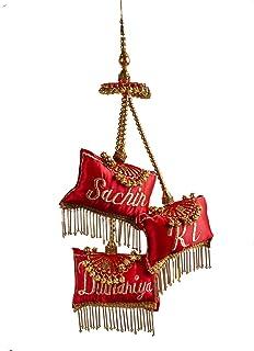 The Bride Made Customized Satin Tassel/Lehenga Latkan with Name (Red, Standard Size)