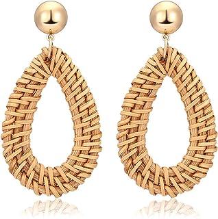 TIKCOOL Handmade Rattan Earrings for Women Straw Weaving...