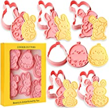SQHOHO 6 Pieces Easter Cookie Cutters Set Easter Egg Bunny 3D Plastic Biscuit Press Stamp Molds Cake Decoration DIY Baking...