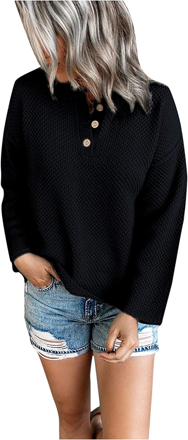 Women's Button Knit Pullover Sweater Long Sleeve V Neck Loose Fit Fall Casual Sweaters Oversized Sweatshirt Henley Tops