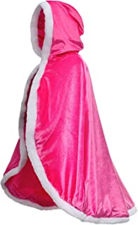 Party Chili Fur Princess Hooded Cape Cloaks Costume for Girls Dress Up 3-12 Years