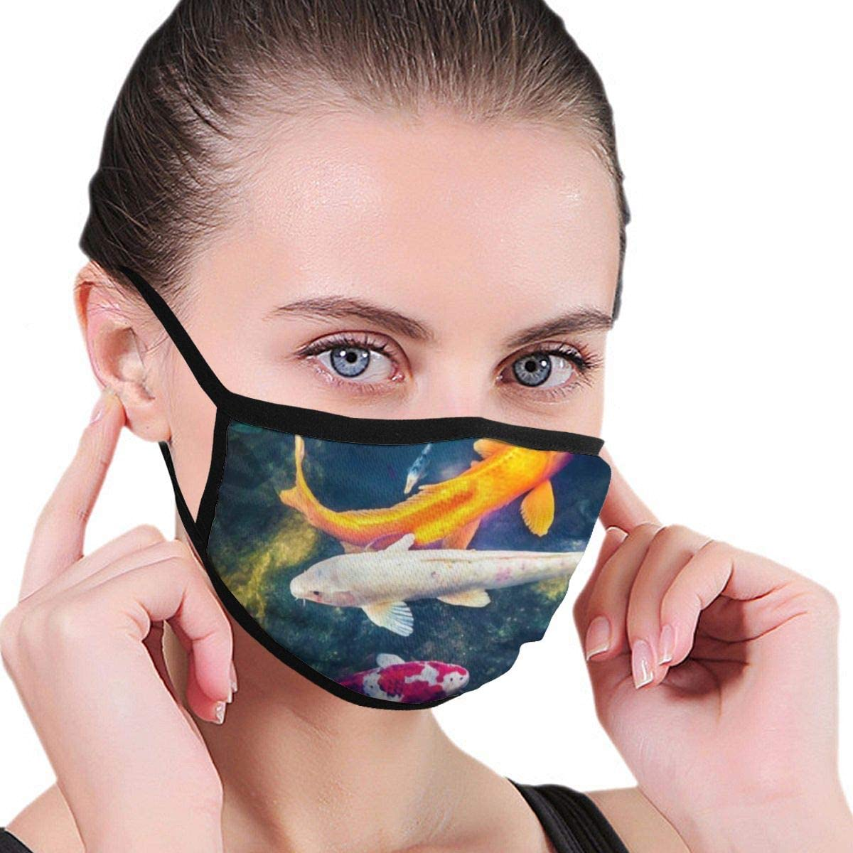 2 Packs Reusable Mouth Wear, Koi Fish Pond Unisex Cotton Facial Covering