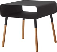 Red Co. Modern Minimalist Side Table with Storage Shelf, Wood & Steel, Black Finish, 35 Inches