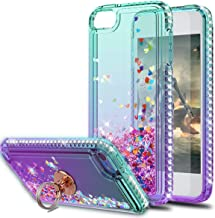 KaiMai iPod Touch 5 Case,Touch 6 Case,Touch 7 Case with HD Screen Protector with Ring Holder,Glitter Moving Quicksand Clear Cute Shiny Girls Women Phone Case for iPod Touch 5 6 7-Aqua/Purple Ring