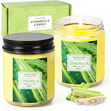 SCENTORINI Citronella Candle, Scented Candle, Lemongrass Aromatherapy Candle Gift Set, Soy Wax Candle for Outdoor/Indoor, 2 x 7.0 oz