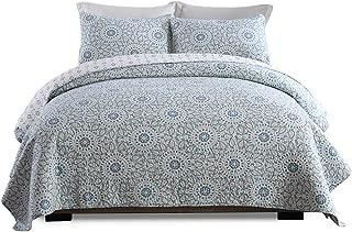 Lecoda Cotton Bedspread Jacquard Style Bohemian Reversible Patchwork Bedspread Queen Size Quilt Sets (Sunflower)