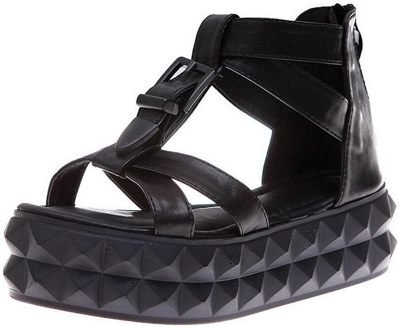 Xiaoyouny Fashionable Women's Solid Pu Low Heels Open Toe Zipper Sandals